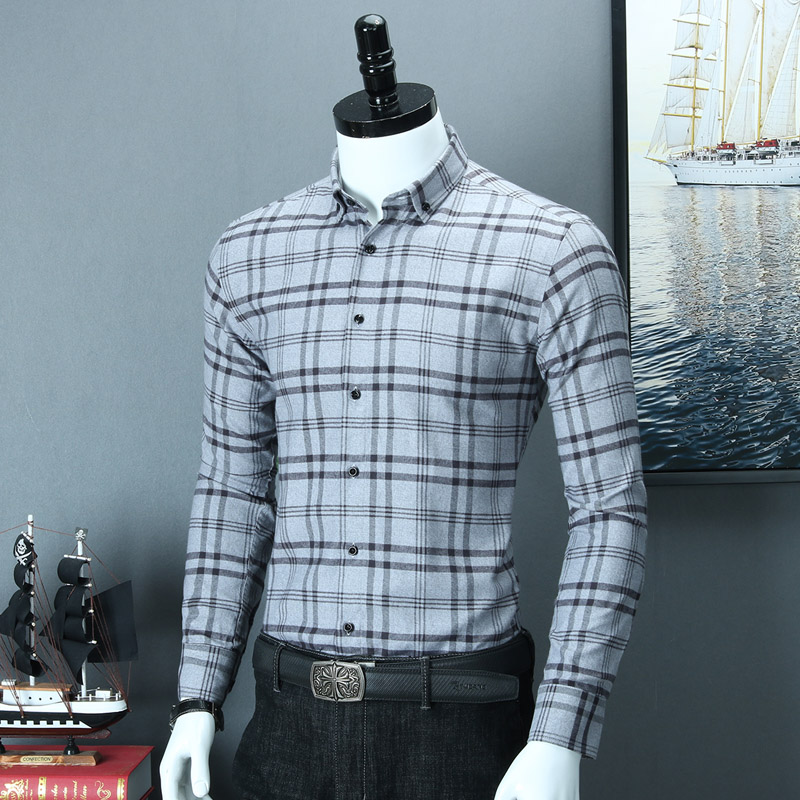 Image 4 - Mens Brushed Plaid Striped Design Button Down Dress Shirt Smart 