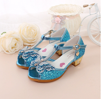 Children High Heels Bow Dance Shoes For Girls Princess Dream Kids Sandals Leather Ladies Party Shoes