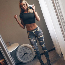 Women Low Waist Camo Leggings Sexy Push Up Pants Camouflage Print Casual Sporting Slim Jeggings