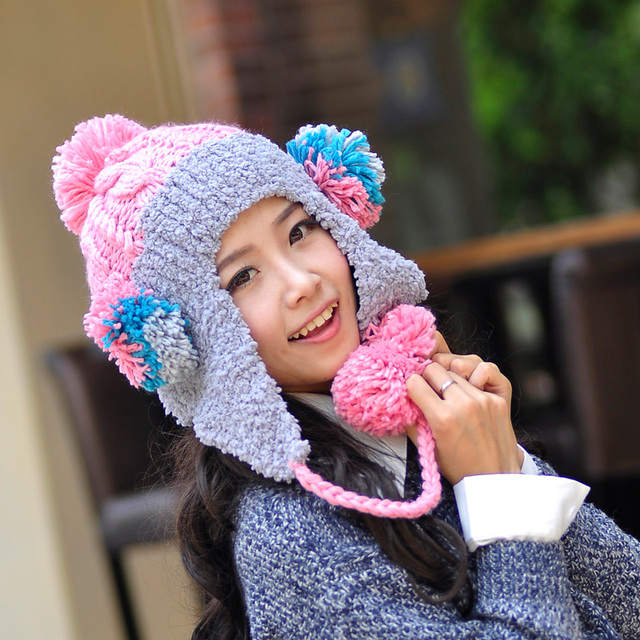 814ae36bf44 Autumn and winter hat women s knitted hat plush hat warm hat lei feng cap  wool ball