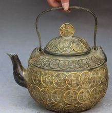 """10 """"Chinese Bronze Gilt Riqueza Dinheiro Chaleira Flagon Wine Pot Estátua AS1176"""