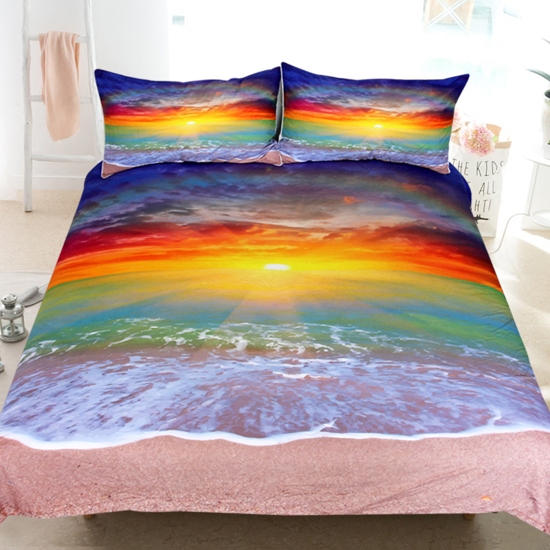 Colorful Quilted Bedspread /& Pillow Shams Set Rainbow Colored Rock Print