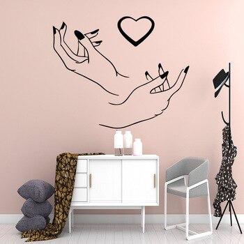 Manicura arte de pared adhesivos para uñas salón decoración pegatina decorativa de vinilo salón de belleza etiqueta murales decoración para el hogar