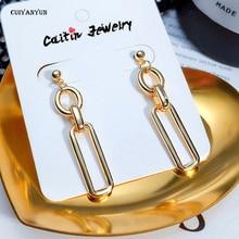 link chain earrings women long fashion jewelry silver female gold trendy drop Bohemian cross wedding