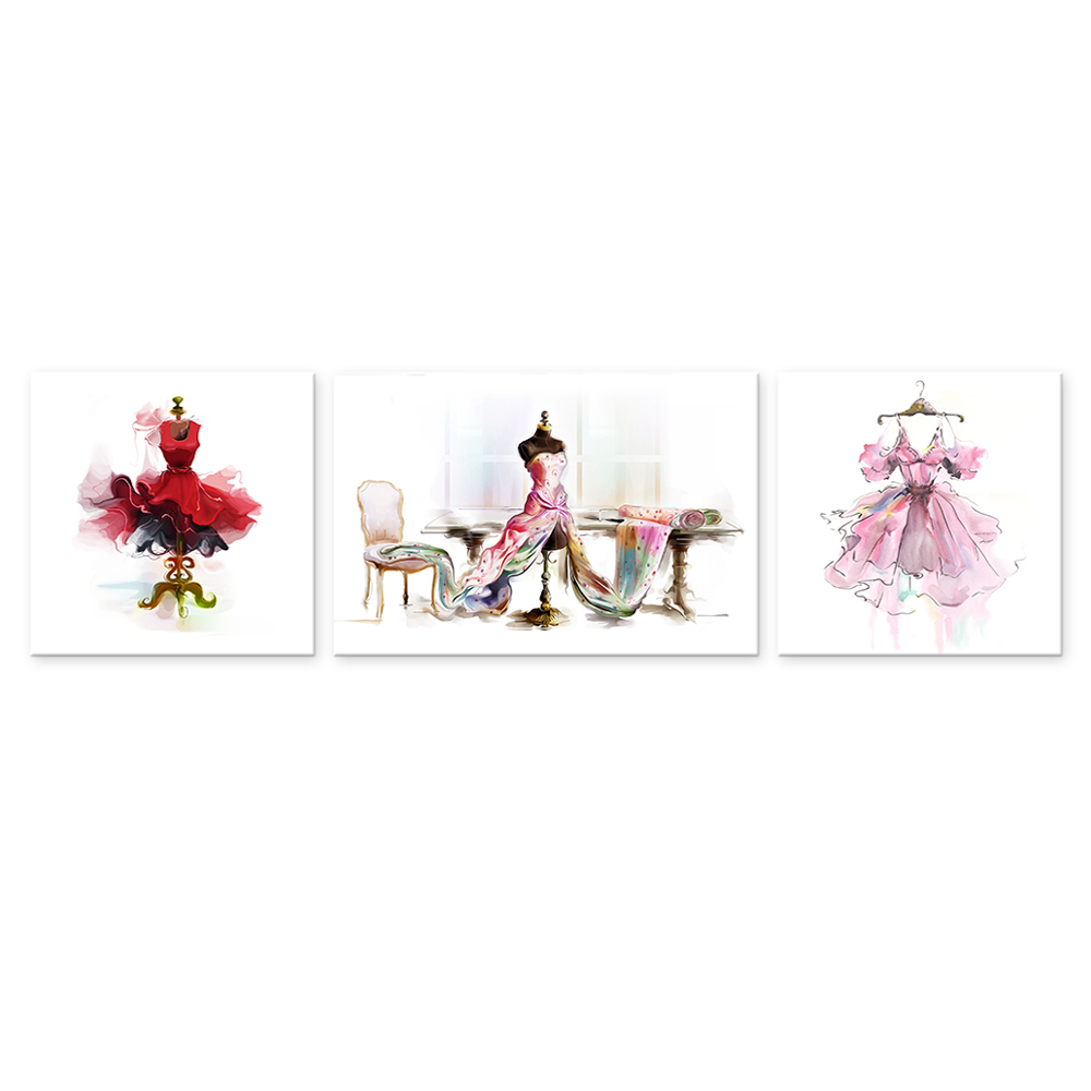 3 Pieces HD Printed Fashion Design Evening Dress Painting Prints Tailors Shop Wall Picture for Living Room/VA170811-8