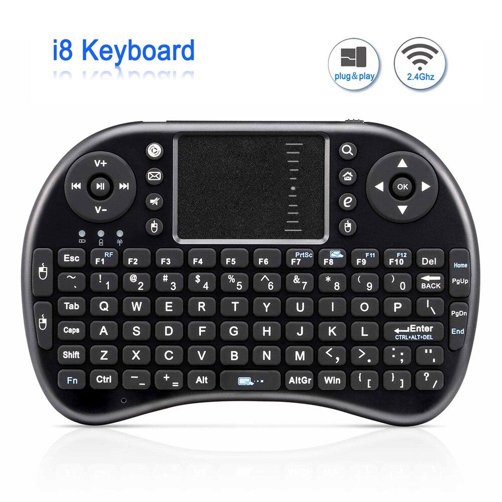 Originale i8 Tastiera Senza Fili Ricaricabile Mini 2.4g Inglese Versione Russa Air Mouse Touchpad Tenuto in mano Per Android TV Del Computer Portatile