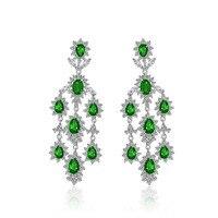 2016 New Arrival Luxury Big Long tassel Pendant Drop Earrings With Shining CZ Brincos Bridal Women Wedding Party Jewelry