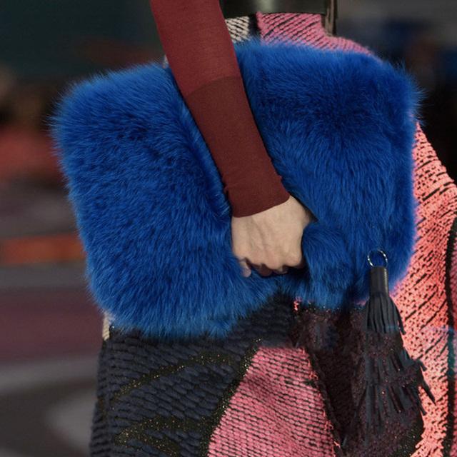 Luxury Designer Women Clutch Bags And Purse Imitate Rabbit Fur Women Handbags Tassels Causal Clutches Evening Bag Female Gift
