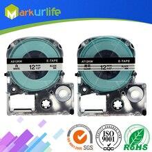 """2 шт./лот кассеты совместим с Epson LW-300 LW-400 LW-600P LW-700 LC-4WBN9 принтера """"Mei Qing""""(12 мм х 8 м, белый/прозрачный"""
