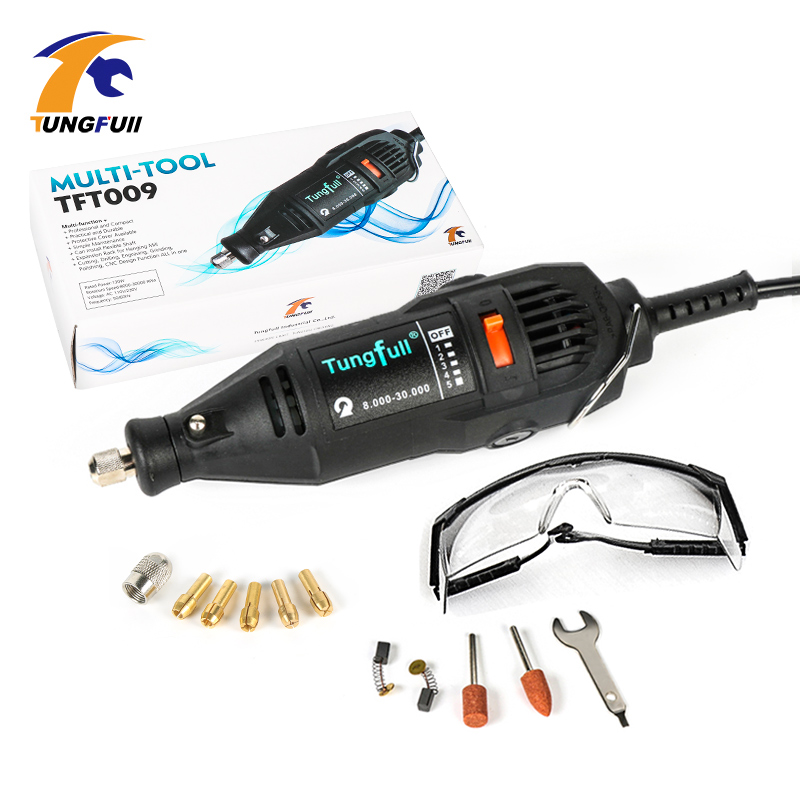 Tungfull 220V 130w Variable Speed Electric Rotary Tool Dremel Style Mini Drill with Safety Glasses and Accessories polishing tungfull 130w dremel style electric rotary tool variable speed mini drill with flexible shaft and 124pc accessories power tools