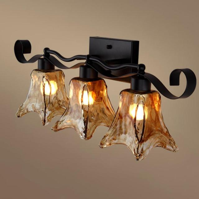 American Nordic Wall Lamp Iron Craft Old World Tuscan 3 Heads Sconce Strip Amber Glass Shades Dining Room Lighting Decor