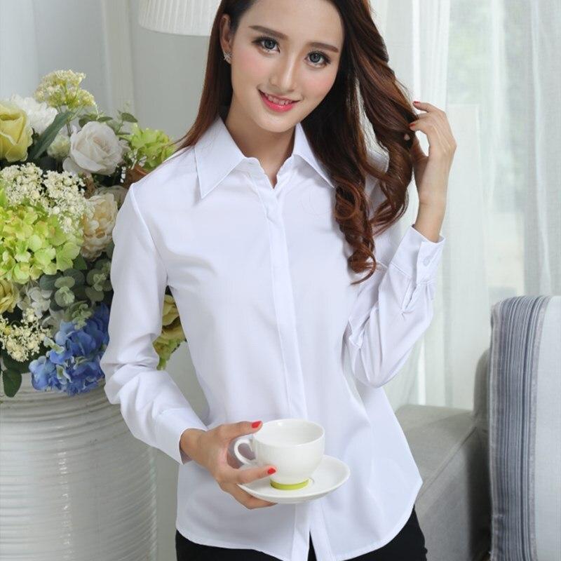 OL Chiffon Blouse White Shirt Female Long-sleeved Blouse Chiffon Shirts Office Women Tops Large Size Blouses Women's Shirt