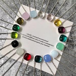 Image 5 - SLJELY collier à facettes carrées en cristal et en pierre, multicolore, de marque célèbre, bijou de fête pour femmes et filles à la mode