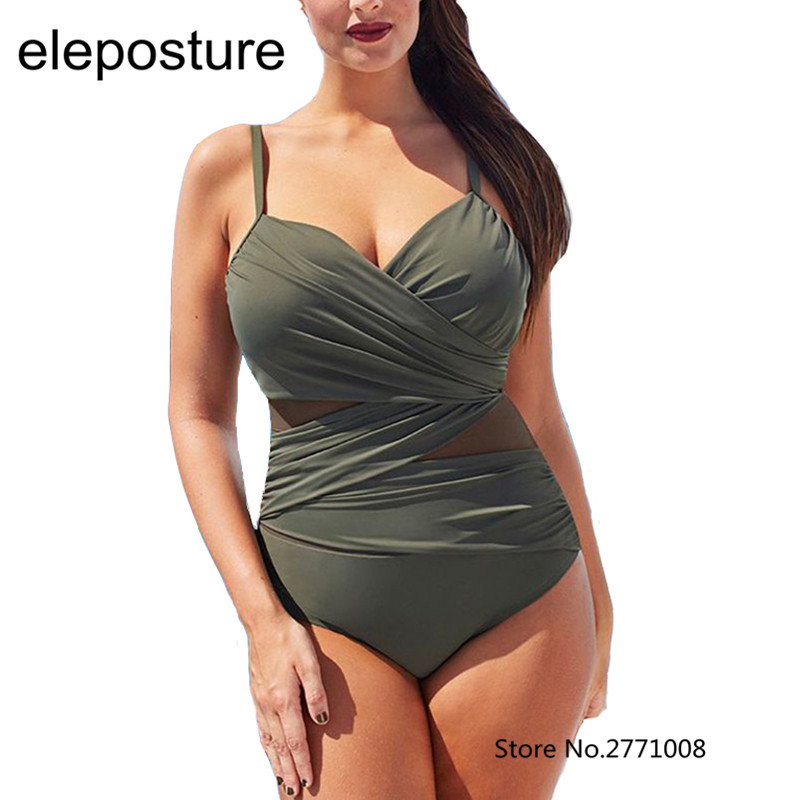 2017 New Sexy One Piece Swimsuit Women Mesh Patchwork Bathing Suits Vintage Swimwear Summer Beach Wear Swim Suit Plus Size M 4XL