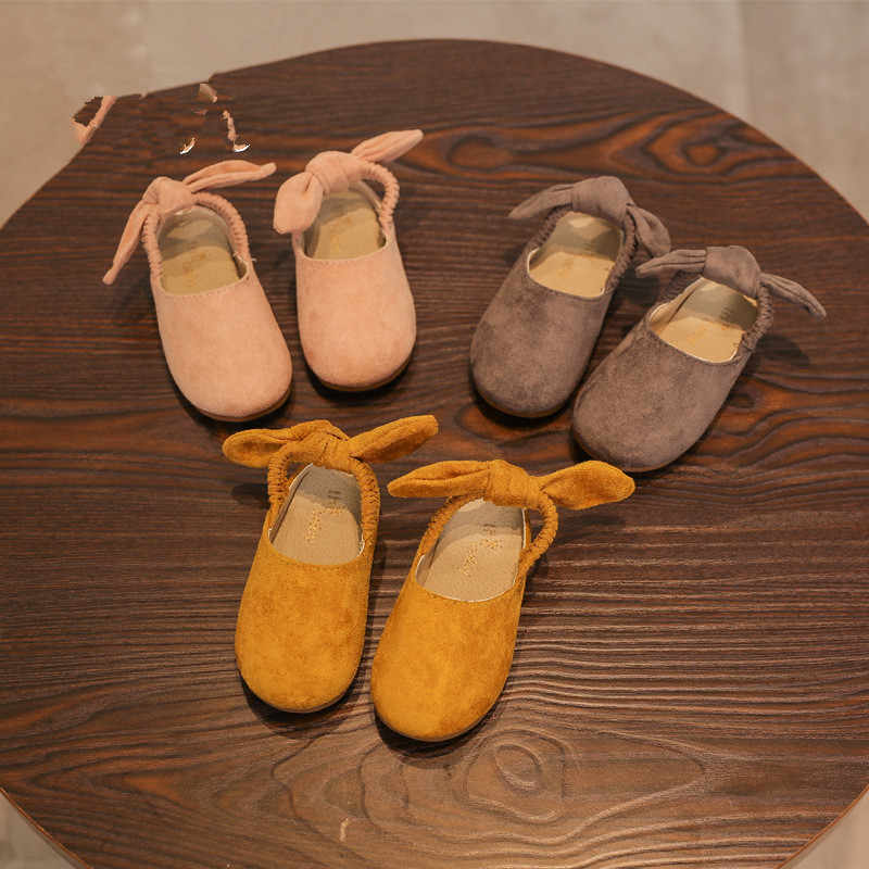 Children's Flat 2018 Spring New Girls Shoes Princess Suede Dance Shoes Wild Children's Shoes Korean Peas Shoes Kids Girl Wear