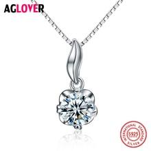 Fashion Women 925 Sterling Silver Necklace Flower Pendant Zircon Charm Jewelry Solid Silver Box Chain Bone Necklace