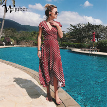 Weljuber Women Boho Maxi Split Dress 2018 Women V Neck Bohemia Long Dresses High Quality Brand
