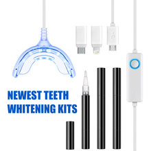 Instant Teeth Bleaching Unit 1 Teeth Whitening LED Blue Light 3 Teeth Whitening Gel Pen with Luxury Color Box As a Birthday Gift