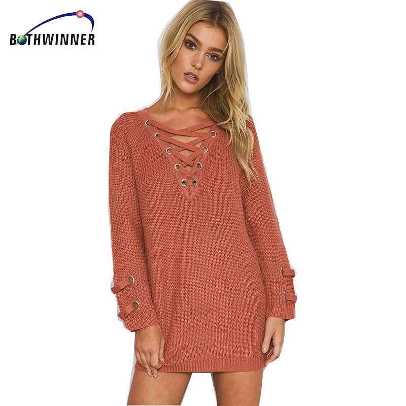 Bothwinner  Lace Up Woman Winter Dress 2017 Knitted Dress Deep V  Long Sleeve Women Sweater Dress Sweaters and Pullovers