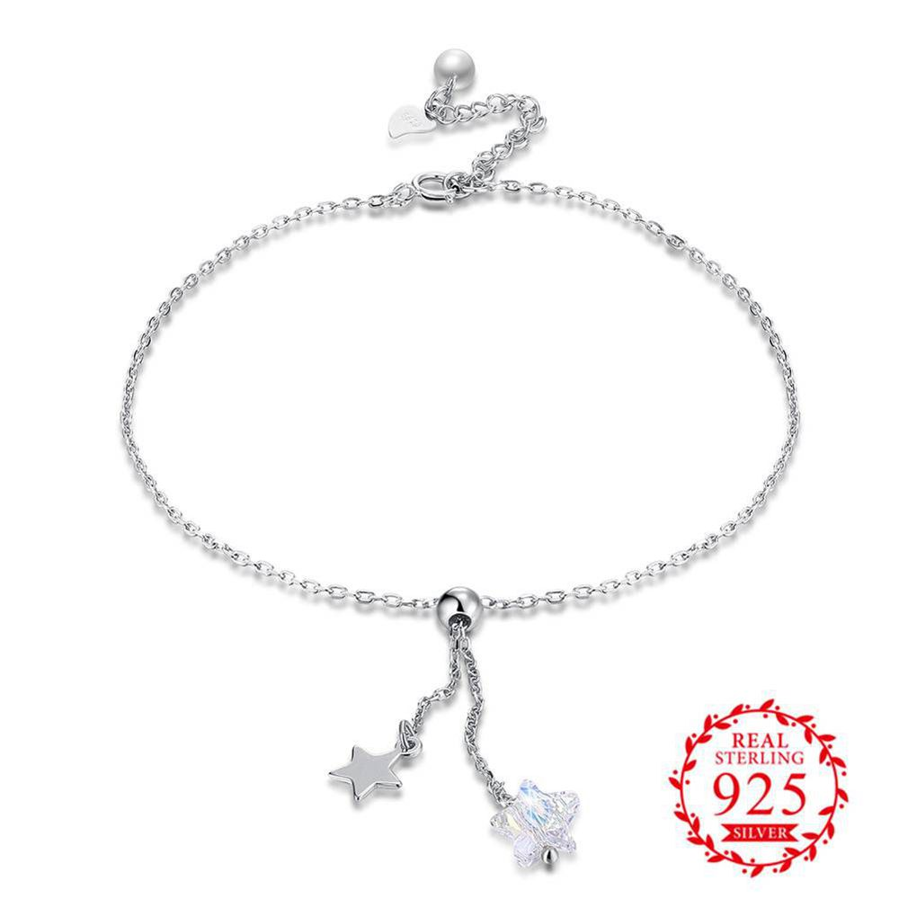 Jemmin New Arrivals Fashion Charm Star Pendant Ankle Bracelet Handmade 925 Sterling Silver Anklet Chain Barefoot Foot Jewelry