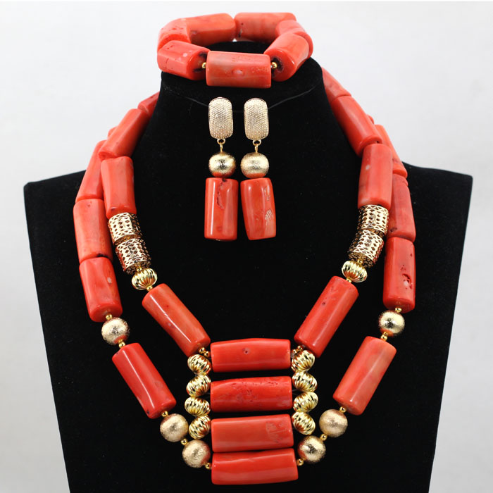 Trendy African Coral Beads Jewelry Set Chunky Pink Nigerian Wedding Bridal Coral Necklace Jewelry Set Free Shipping CJ741 african wedding beads necklace green coral nigerian bridal jewelry sets trendy coral fashion jewelry set free shipping abk079