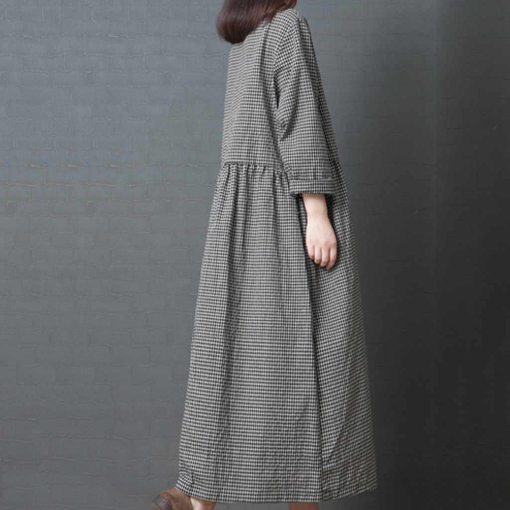 Женское длинное платье vestido de festa longo, большой код, Летнее льняное платье в японском стиле, 2019, платье в клетку с длинными рукавами #508
