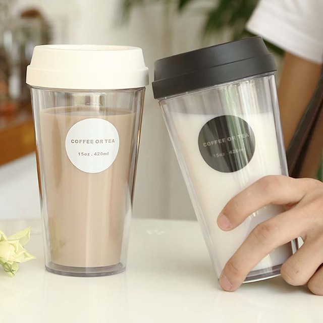 05d9585babc US $4.46 29% OFF|320/420/520ml Travel Coffee Mug Outdoor Coffee Cup Double  Transparent Car Water Cup Non slip Cover Office Gift Round-in Mugs from ...