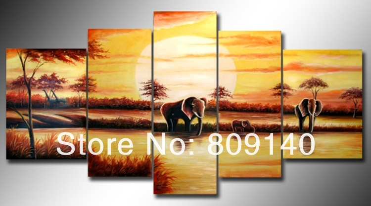 free shipping African Wall Landscape oil painting canvas Elephant ...
