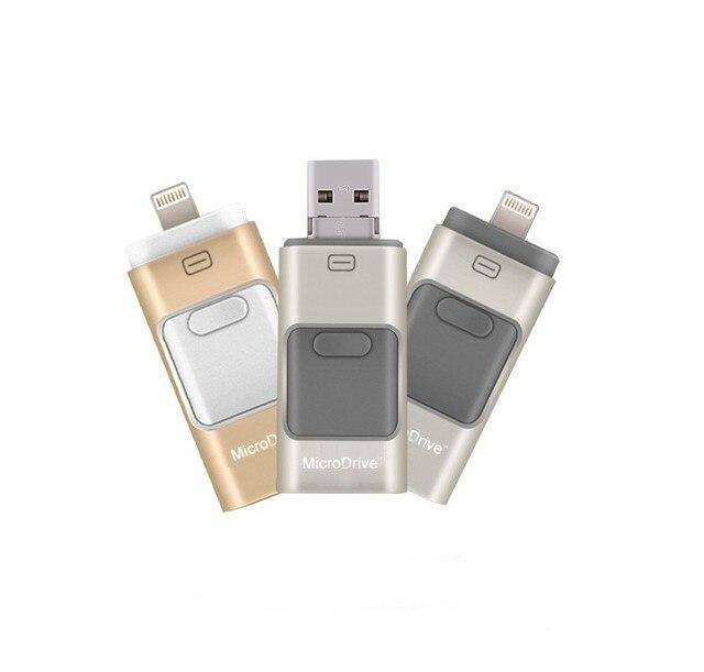 Металлическая Ручка привода HD memory stick Двойного назначения мобильный Otg Micro USB ФЛЭШ-Накопитель 16 ГБ ФЛЕШКИ Для iphone 6, 6 Плюс 5 5S