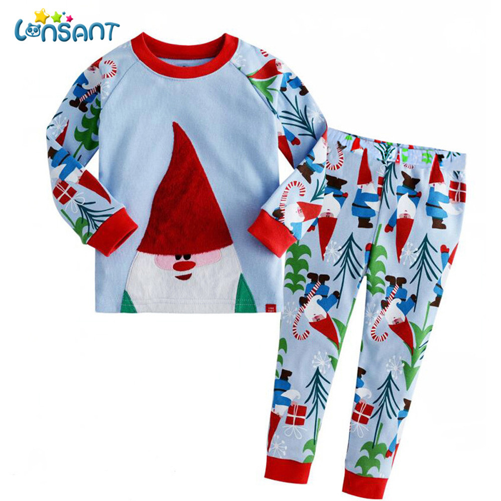 LONSANT Infant Baby Boys Girls Father Christmas Cartoon Long Sleeve T-shirt Tops+Pants Outfits Kids Clothes