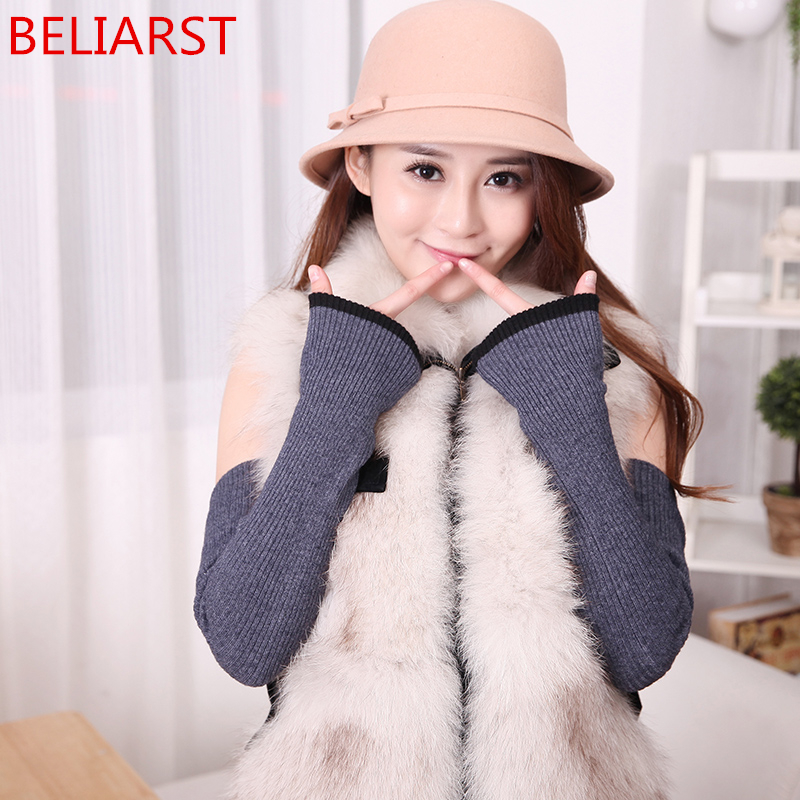 BELIARST Cashmere Arm Sleeve Cuff Woman Long Section Refers To The Mittens Knit Double Thick Warm Wool Line Fake Sleeves