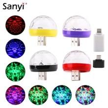 Mini Luz de discoteca USB, luces LED de fiesta, BOLA MÁGICA portátil de cristal, lámpara de escenario de efecto colorido para fiesta en casa, decoración de Karaoke