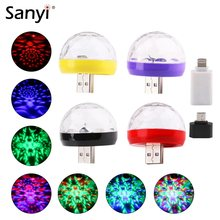 Mini USB Disco Light LED Party Lights Portable Crystal Magic Ball Colorful Effect Stage Lamp For Home Party Karaoke Decoration(China)