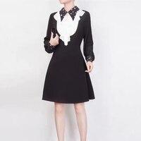 Черные платья с длинным рукавом Осень Зима модное женское платье повседневное белое гофрированное ТРАПЕЦИЕВИДНОЕ женское платье элегантн