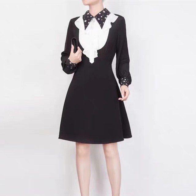 Black Dresses Long Sleeve Autumn Winter Fashion Women Dress Casual White Ruffled A-line Female Dress Elegant
