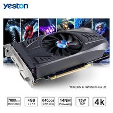 Yeston GeForce GTX 1050Ti GPU 4 Гб GDDR5 128 бит игровой настольный компьютер ПК видео Графика карты поддерживают Ti