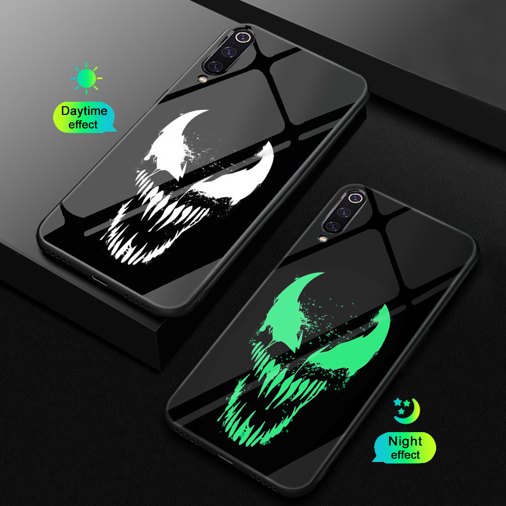 ciciber For Xiaomi MI 9 8 A2 6X T MIX 2 2S PocoPhone F1 Glass Phone Cases for Redmi Note 7 8 6 Pro Plus Cover Coque Marvel Venom-in Fitted Cases from Cellphones & Telecommunications