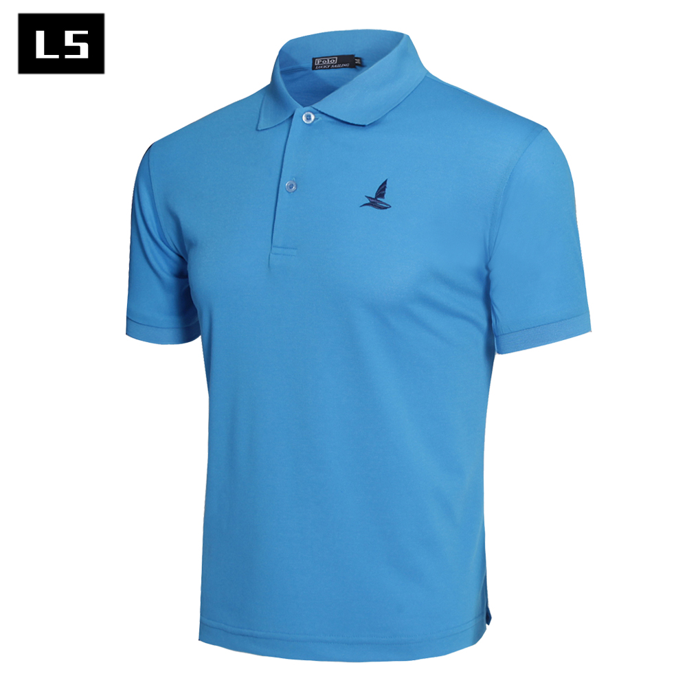 Brand clothing men polo shirt polyester and cotton casual for Men s polyester polo shirts