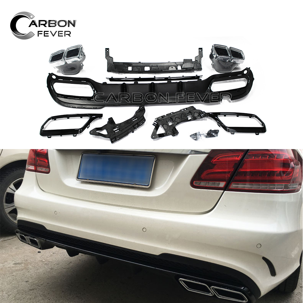 For Mercedes E Class W212 PP Rear Bumpers Back Lip Diffuser With Exhaust Tip 2014 2015 2016 Auto Exterior Part|Bumpers| |  - title=