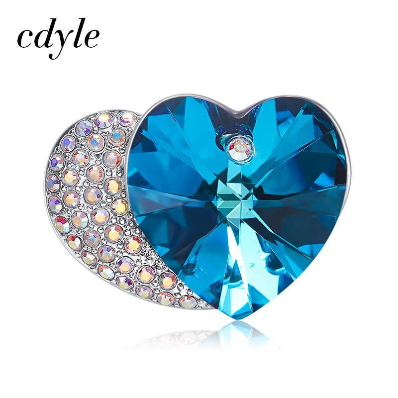 Cdyle Dihiasi dengan Kristal Bros Double Heart Bros Pin untuk Wanita Pengantin Ibu Sweater Scarf Suit Bros
