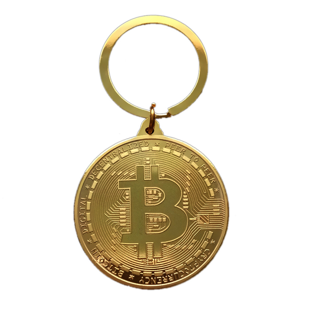 shop with crypto buy Gold Plated Bitcoin Keychain Coin pay with bitcoin