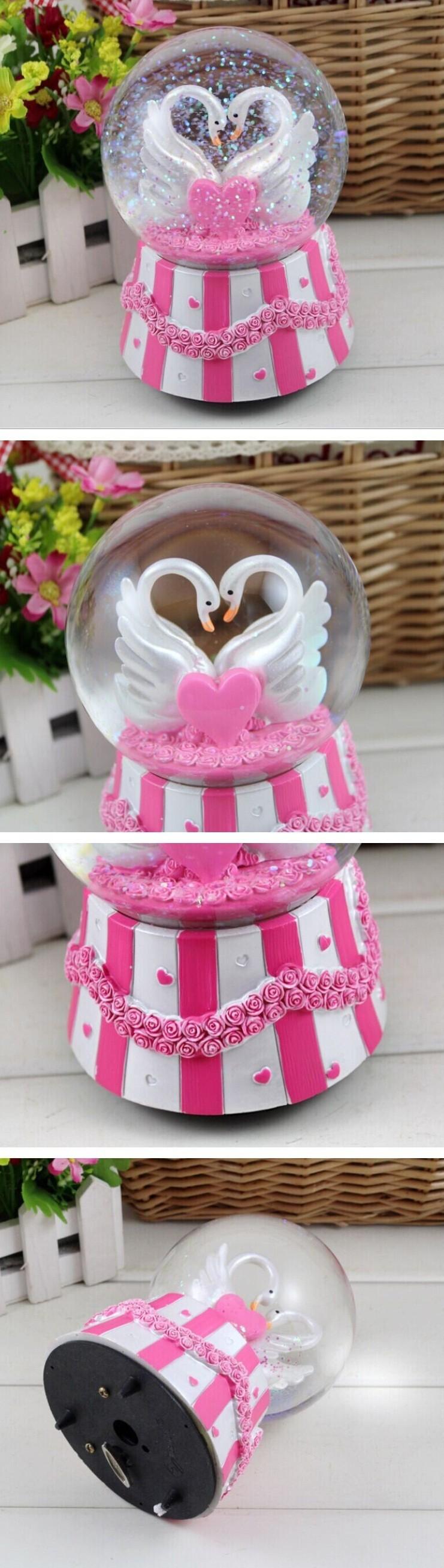Swan lovers heart music box crystal ball snow globe rotation ...