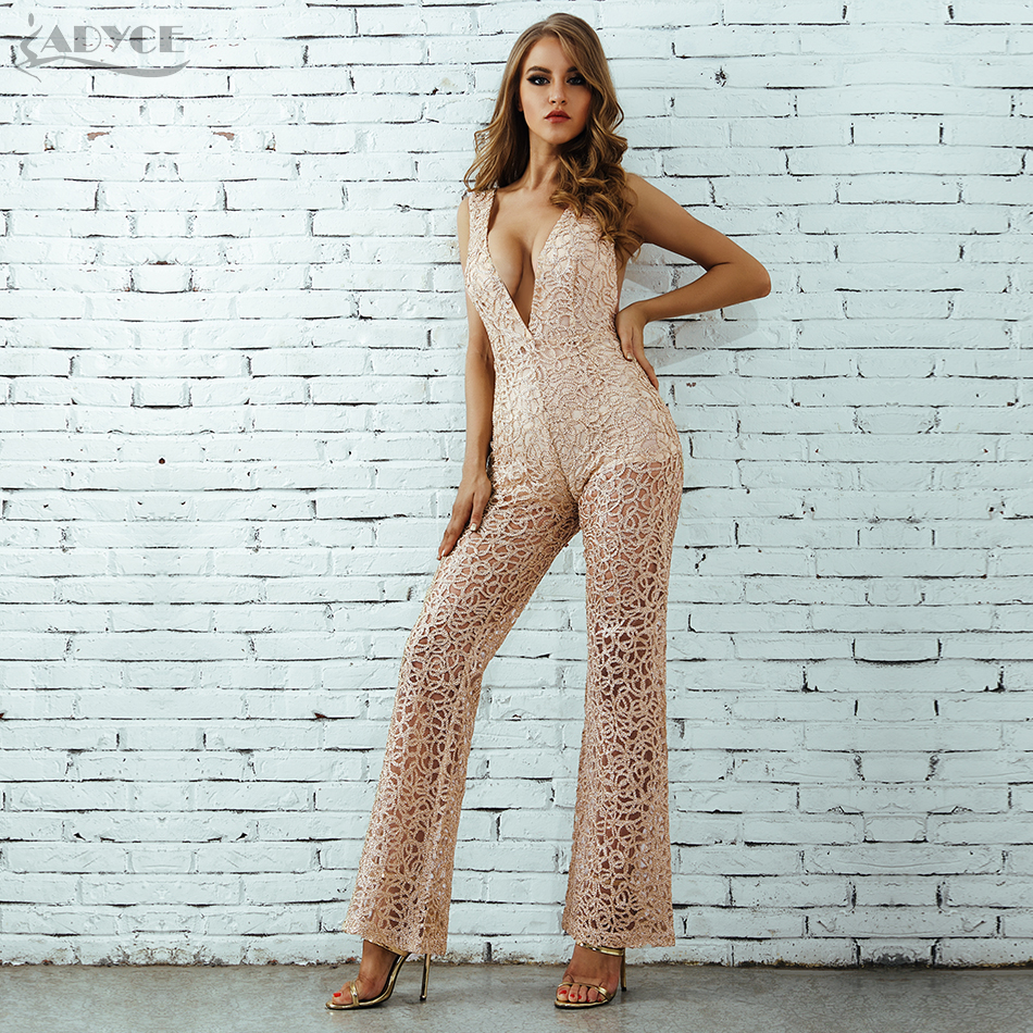 Deep V Neck Hollow Out Playsuit Bodycon Celebrity Party Jumpsuits 3