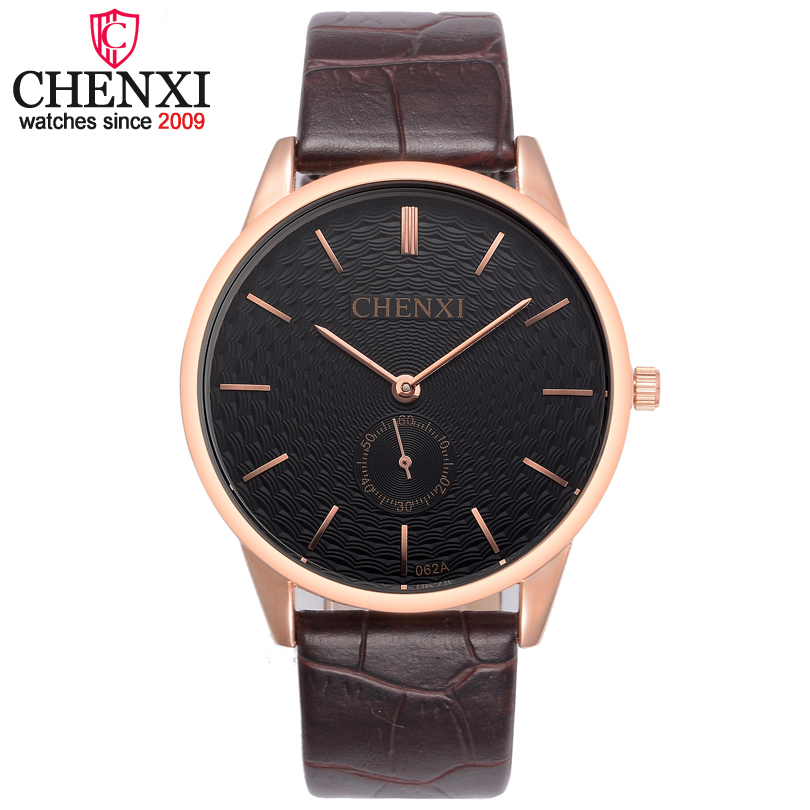 CHENXI Brand Rose Golden Watches Men Luxury Fashion Brown Leather Male Wristwatch Small Work Dial Design Quartz Analog Watch Man men mechanical pocket watch roman classic fob watches sepia flower retro vintage gold ipg plating copper brass case snake chain
