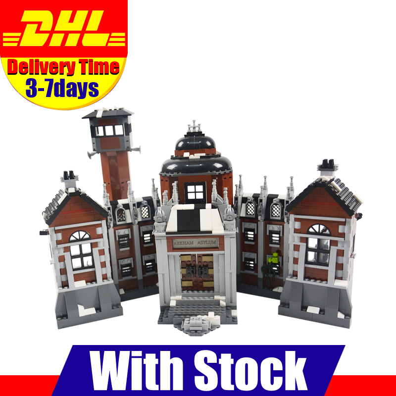 DHL 1628Pcs LEPIN 07055 Genuine Series Batman Movie Arkham Asylum Building Blocks Bricks Toys with 70912 gift lepin 07055 batman series arkham asylum model building block compatible legoe 1628pcs toys for children