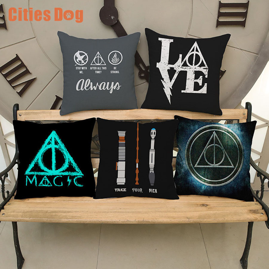 Harry Potter Pillow For Waist Cushion Hogwarts Death Geometrics Sign Movie Poster Throw Pillow Cases