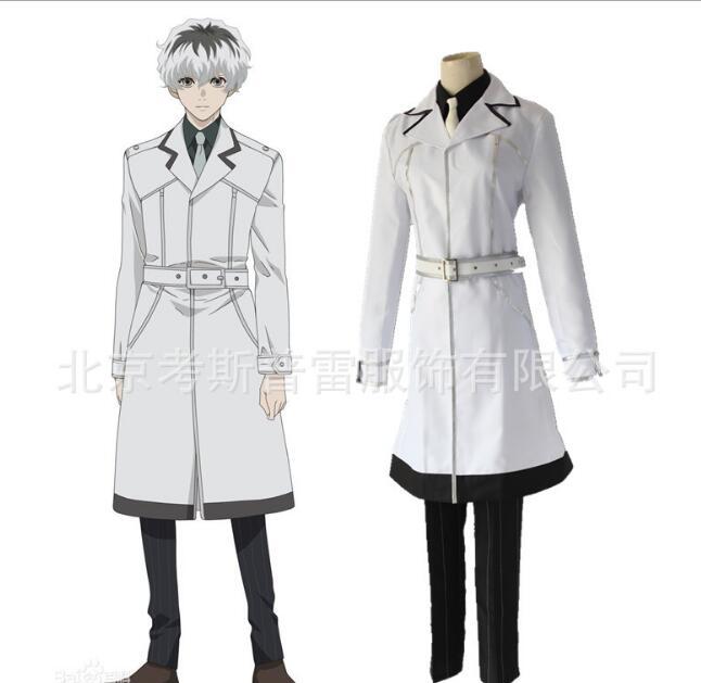 Japonais Anime Tokyo Ghoul: re Cosplay Costumes Sasaki Haise Kaneki Ken Cosplay Costumes blanc Trench ensemble complet
