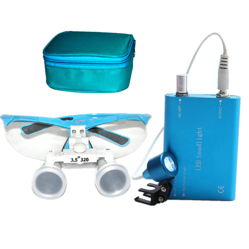 Good Quality Blue magnifying glass 3.5X320 Medical Surgical loupes Dental Loupes medical loupes head loupes with LED light 2 5multiple high quality 3 w led surgical medical dental loupes with spotlight head light lamp headlight ac dc with loupes