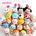 20pcs/lot Mixed styles Didi Tsum mickey Minnie Keychain Soft Plush Keyring Bag Pendant Fur key chain Donald Duck keychains
