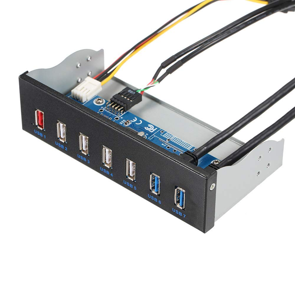 "5,25 ""CD-ROM Stick Bay Front Panel 7 Ports Hub 4-Port USB 2.0 Hub 2-Port USB 3.0 Hub 1-Port Schnelle Lade Für Desktop PC Fall"
